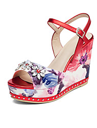 Women's Sandals Summer Fall Club Shoes Cowhide Office & Career Party & Evening Dress Wedge Heel Buckle Flower