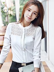 реальный выстрел 2016 осень новый корейский вентилятор женщин большого размера&# 39; с полой вышиванки женщины с длинными рукавами