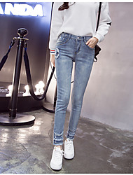 Sign 2017 Korean version of the nine points jeans female personality skull tight trousers zipper feet pants hole