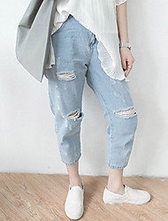 Really making 2016 summer Korean version was thin big yards loose hole jeans feet f