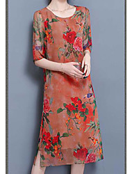 2017 spring and summer silk dress 100% silk Chinese style big yards loose A-line print dress