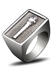 Кольцо Хип-хоп Титановая сталь Круглый Серебряный Бижутерия Для Повседневные 1шт