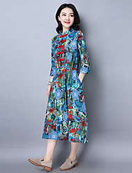 Sign 2017 spring new national wind retro big yards cotton grown up swing dress