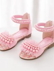 Girls' Sandals Summer Comfort PU Dress Casual Flat Heel Imitation Pearl