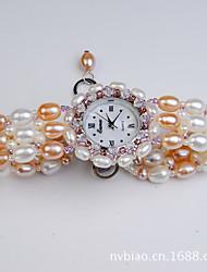 Women's Fashion Watch Quartz Pearl Band Orange