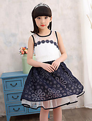 Girl's Going out Casual/Daily Holiday Solid Floral Dress,Cotton Summer Sleeveless