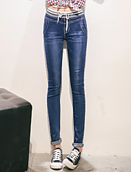 Sign new female waist jeans Slim was thin elastic waist pants feet trousers tide