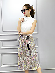 печатных юбка весна и лето хлопка костюм небольшой ароматного ветра шифон блузка + девять из двух частей брюки моды широкой ноги