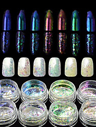 8 bottles/set Colorful Nail Art Chameleon Glitter Powder Decoration Starry-sky&Mirror Effect Glitter Nail Art Design Sparkling Decoration BS28-35