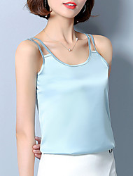Women's Plus Size Casual/Daily Sexy Summer Tank Top,Solid Strap Sleeveless Silk Thin