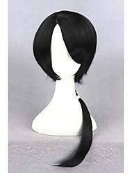 Moyen long touken ranbu en ligne kashuukiyomitsu bleu&Perruque synthétique noire synthétique de cheveux 18 po à l'arc cs-231d