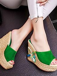 Feminino-Saltos-Chanel-Salto Grosso-Preto Verde-Outras Peles de Animais-Casual