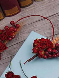 Tecido de linho headpiece-casamento ocasião especial headbands flores 5 peças