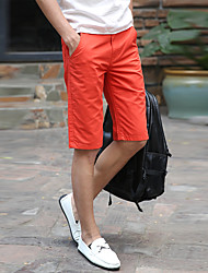 Men's Mid Rise Inelastic Shorts Pants,Simple Loose Solid