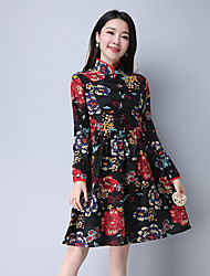 Sign new national wind retro long-sleeved dress 2017