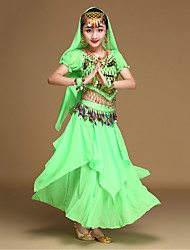 Belly Dance Outfits Kid's Performance Chiffon Gold Coins / Sequins Sleeveless 4 Pieces Top / Skirt / Hip Scarf / Veil