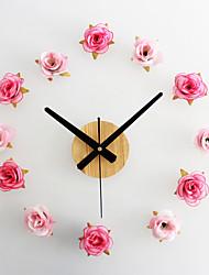 Moderne/Contemporain Décontracté Fleurs / Botaniques Horloge murale,Nouveauté Métal Bois Polyester 10*10 Intérieur/Extérieur Intérieur