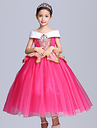 Ball Gown Tea-length Flower Girl Dress - Cotton Satin Tulle Short Sleeve Off-the-shoulder withBow(s) Crystal Detailing Ruffles Sash /