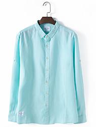 Men's Casual/Daily Simple Shirt,Solid Shirt Collar Long Sleeve Linen