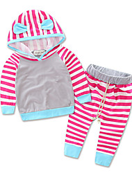 Baby Striped Leisure Suit Kids Infant Girls Clothes Hooded T-shirt Top Pants Set Boy Outfit Dress Cotton Sports Shirt