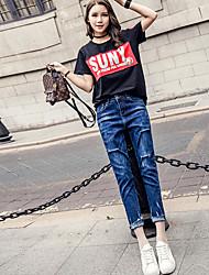 La nueva primavera y el verano de alta cintura azul agujero jeans pantalones sueltos femenino colapso colgando entrepierna micro a través
