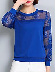 Кружева рубашка женский 2017 весна новый раунд шею рубашка с длинными рукавами свободно шифон рубашка корейский дикий нижняя рубашка топы