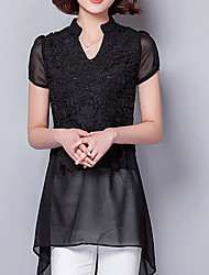 Women's Lace Going out Casual/Daily Simple Spring Summer Blouse,Solid V Neck Short Sleeve Silk Translucent