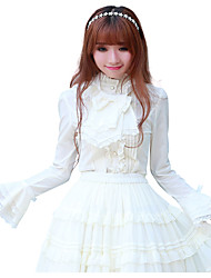 Classic White Lace-up Long Sleeve Lace Lolita Shirt and Knee-length Skirt Lolita Dress