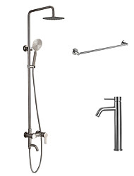 Contemporary Tub And Shower Rain Shower Widespread Handshower Included with  Ceramic Valve Nickel Brushed Shower Faucet With Basin Tap