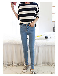Sign spring and summer 2017 new Korean elastic waist pencil pants female feet was thin denim trousers students
