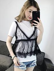 Damen Solide Einfach Niedlich Street Schick Lässig/Alltäglich T-shirt,Rundhalsausschnitt Sommer Kurzarm Baumwolle Mittel