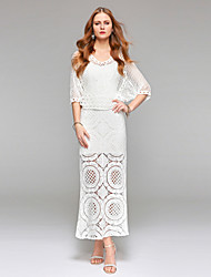 Sheath / Column Wedding Dress Simply Sublime See-Through Ankle-length V-neck Lace with Draped Lace