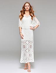 Robe de mariage en gaine / colonne simplement sublime à la longueur de la cheville longueur v-encolure avec dentelle drapée