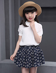 Girls' Going out Casual/Daily Holiday Sets Cotton Summer Short Sleeve Solid Top Floral Skirt 2 Pieces Clothing Set