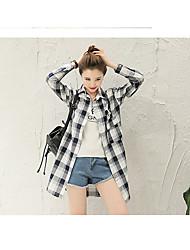 Women's Going out Simple Spring Summer Shirt,Check Shirt Collar Long Sleeve Cotton Thin