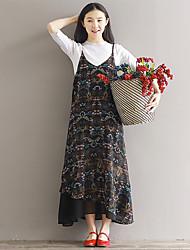 Signe 2017 printemps et été longue robe section robe floral