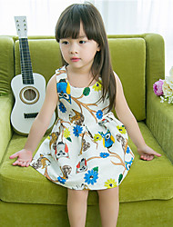 Girl's Casual/Daily Animal Print Dress,Cotton Summer Sleeveless