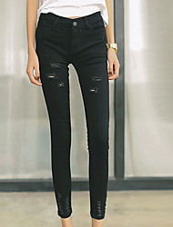 Women's Mid Rise Inelastic Jeans Pants,Simple Skinny Solid