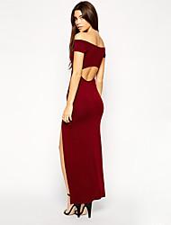Mujeres europeas y americanas cuello sexy strapless espalda ovalado split vestido apretado era fino de manga corta jumpsuit