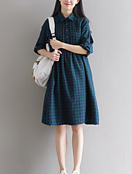 Sign Retro Art plaid shirt dress women new Japanese Sen female autumn