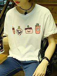 Damen Solide Einfach Ausgehen T-shirt,Rundhalsausschnitt Sommer Kurzarm Baumwolle Mittel