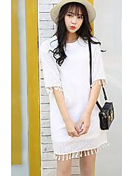 Model real shot 2017 Korean Women spring new lace fringed sleeve round neck dress