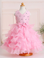 Ball Gown Tea-length Flower Girl Dress - Lace Organza Satin Sleeveless V-neck with Bow(s) Crystal Detailing Lace Sash / Ribbon