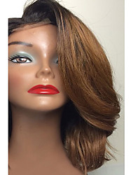 6/27 Chestnut Brown Body Wave Ombre Full Lace Brazilian Virgin Human Wigs Chinese Bangs Lace Front