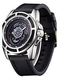 Men's Wrist watch Quartz PU Band Casual Black