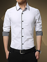 Men's Casual/Daily Vintage Simple Shirt,Solid Color Block Shirt Collar Long Sleeve Cotton