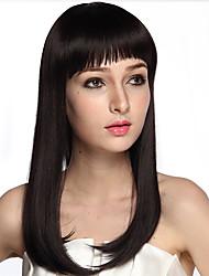 longue perruque fibre synthétique perruque noire caplss perruque de costume avec une frange