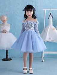 A-line Knee-length Flower Girl Dress - Lace Satin Tulle 3/4 Length Sleeve Off-the-shoulder with Lace Pearl Detailing