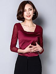 Tee-shirt Femme,Couleur Pleine Sortie Décontracté / Quotidien simple Printemps Manches Longues Col en U Coton Spandex Moyen