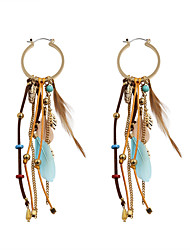 Drop Earrings Feather Alloy Fashion Bohemian Euramerican Leaf Feather Coffee Jewelry Wedding Party Halloween Daily Casual Sports 1 pair